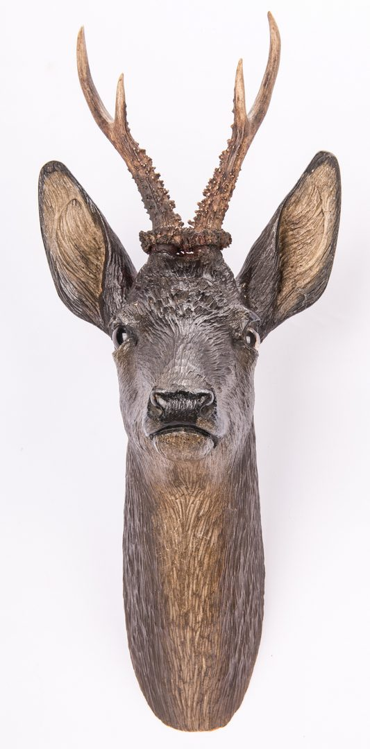 Lot 313: Pr. Black Forest Carved Deer Heads