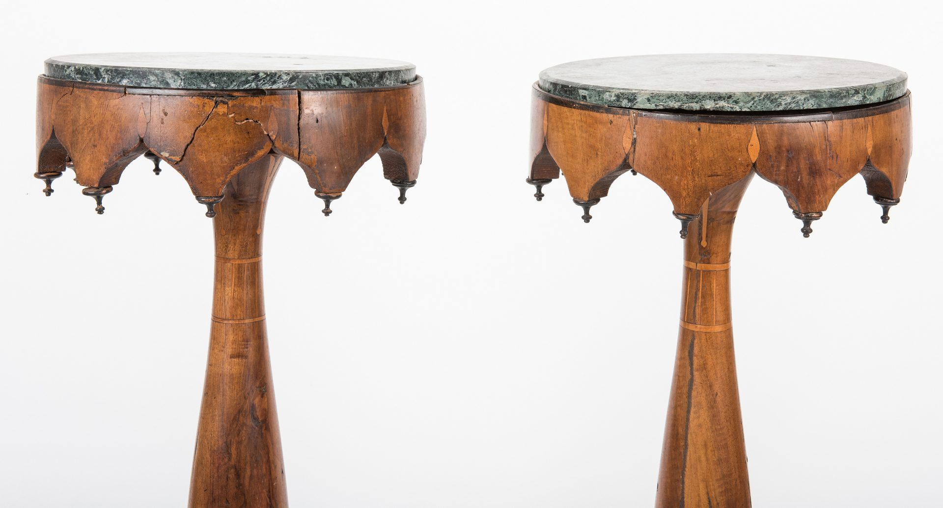Lot 314: Pair of Continental Inlaid Pedestals