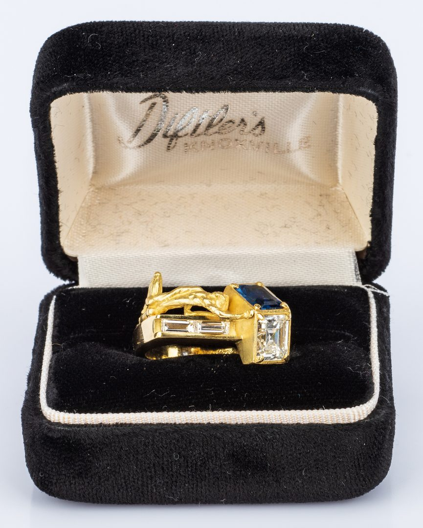 Lot 32: 18K Custom Diamond and Sapphire Ring