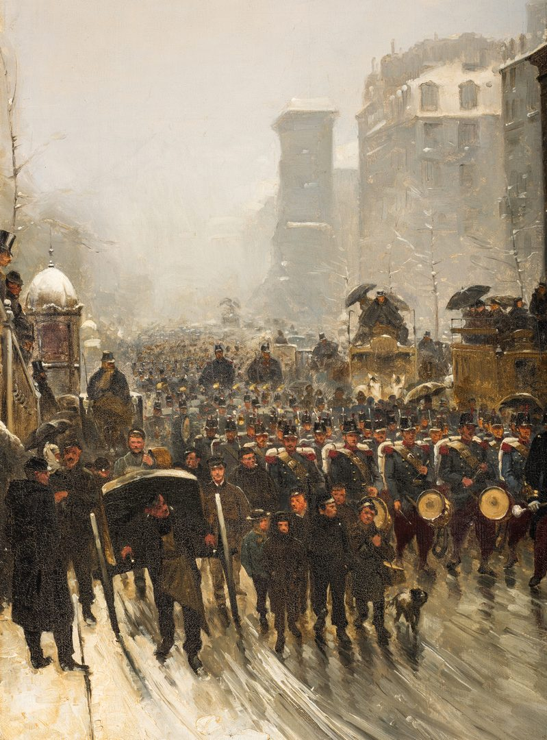 Lot 331: Paul G. Fischer Oil, Military Parade