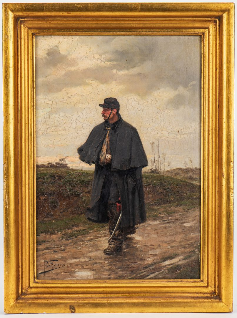 Lot 332: Paul Grolleron oil on board, Wounded Soldier