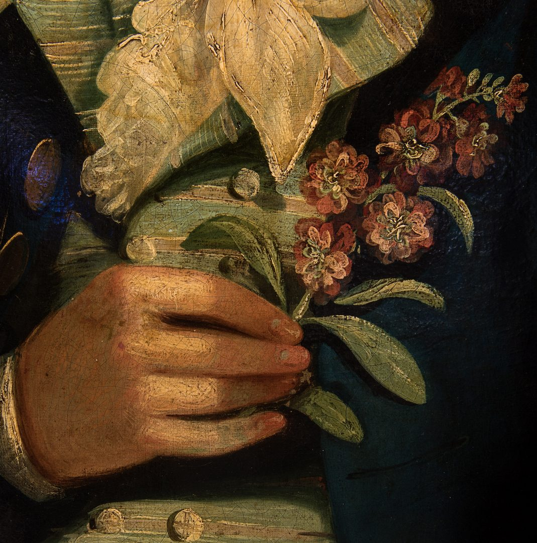 Lot 336: 18th c. O/C Portrait of Botanist