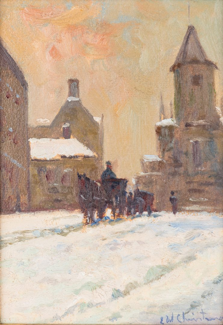 Lot 338: Ernest Christmas, winter streetscape oil