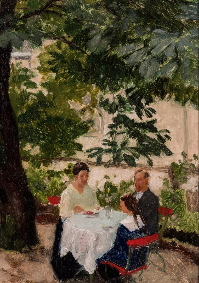 Lot 339: Franz Windhager oil, Dining on a Terrace