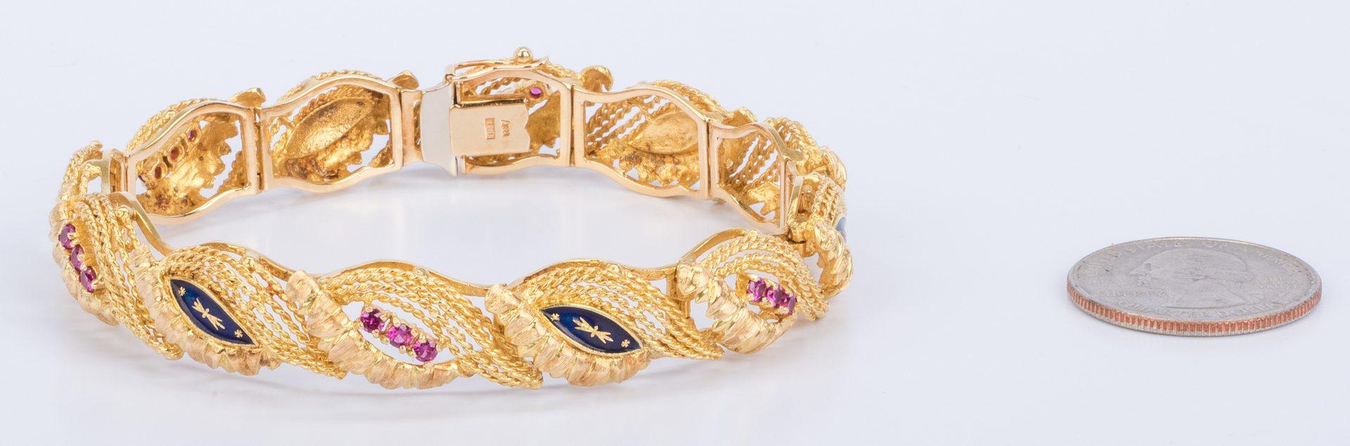 Lot 33: 18K Italian Ruby, Blue Enamel Bracelet