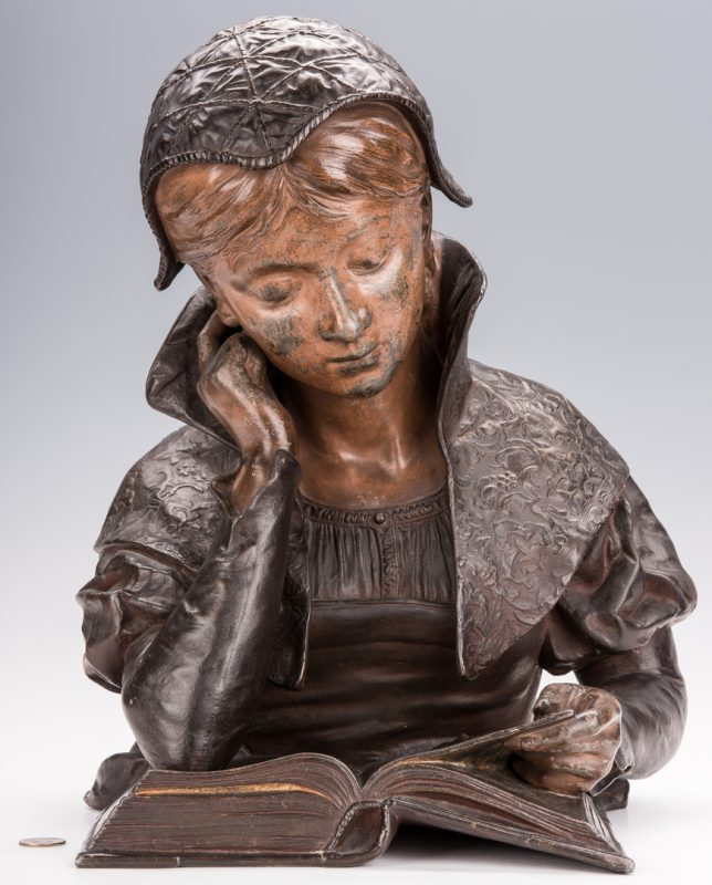 Lot 342: Louis Hottot Sculpture, Young Girl Reading