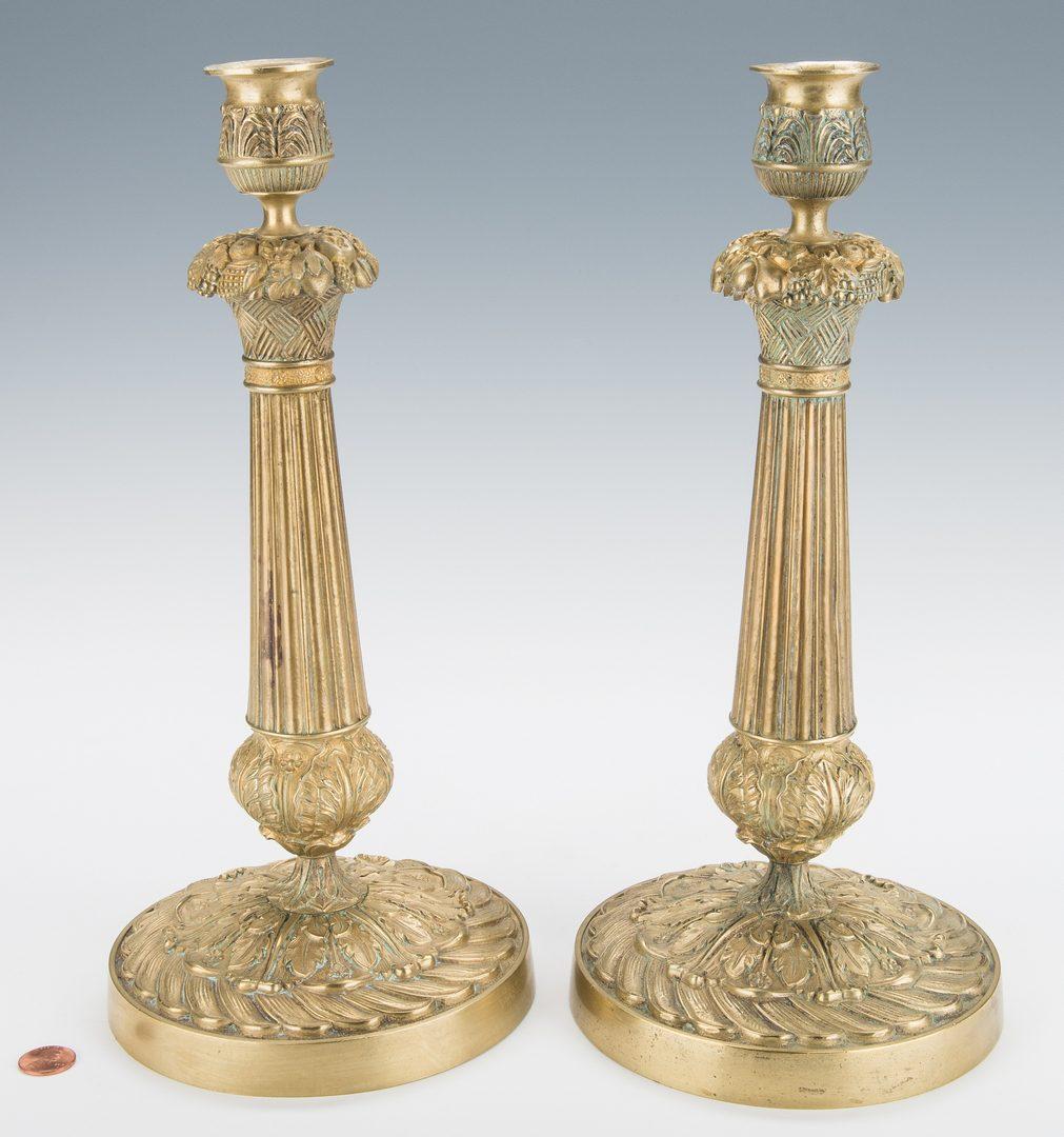 Lot 344: Pair French Gilt Bronze Candlesticks