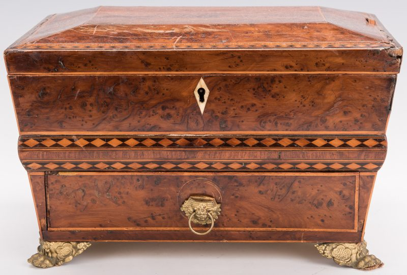 Lot 346: English Regency Burlwood Sewing Box