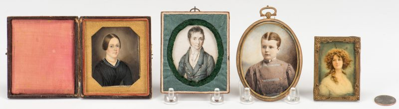 Lot 348: 4 miniature portraits, inc. C.J. Fox