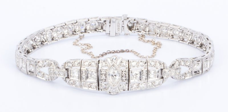Lot 34: Art Deco Platinum Diamond Bracelet