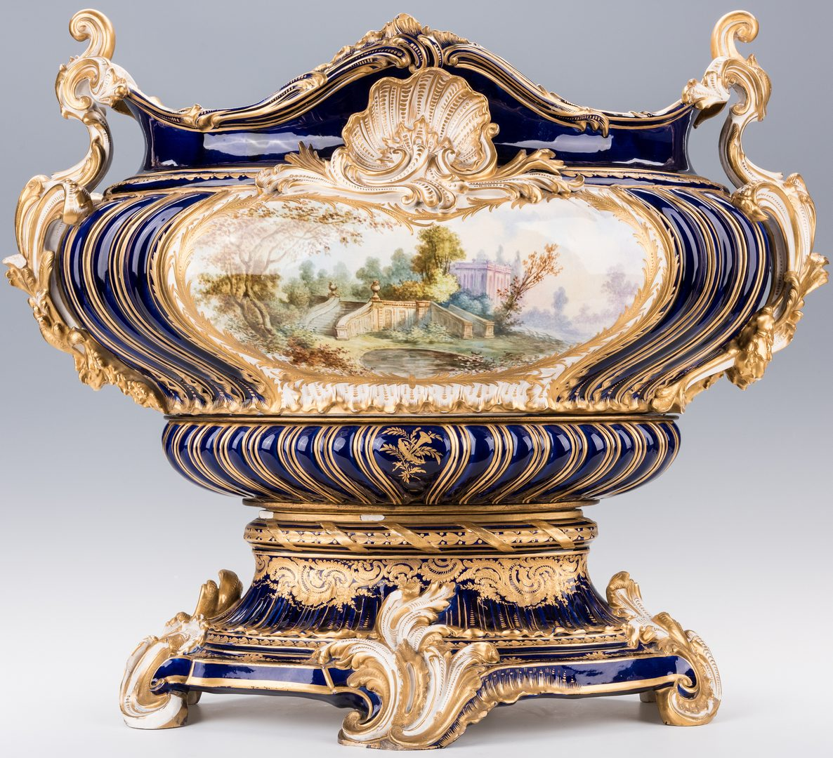 Lot 354: Grand Sevres Style Porcelain Jardiniere