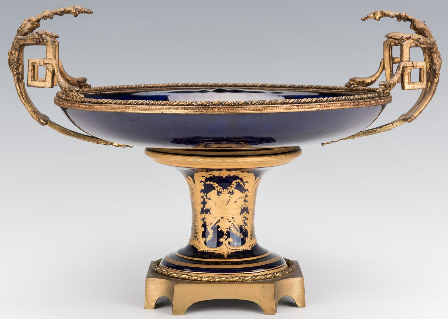 Lot 355: 3-Pc. Sevres Style Garniture Set, Compote & Covered Urns