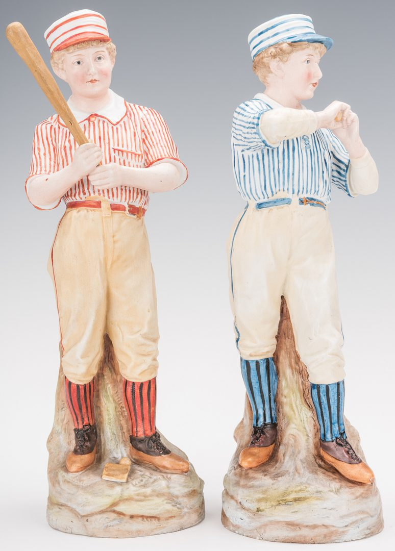 Lot 360: Pr. of German Heubach Porcelain Baseball Figures