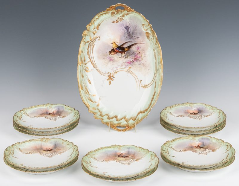 Lot 361: Limoges Porcelain Game Platter & Plates