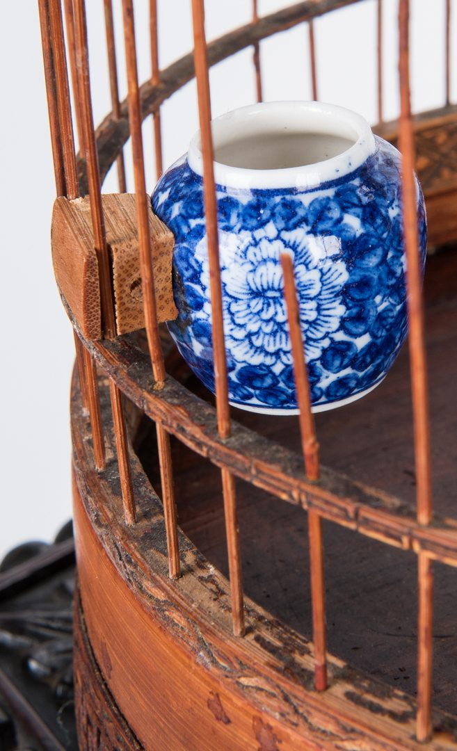 Lot 368: Chinese Prunus Carved Hardwood Stand & Bamboo Birdcage