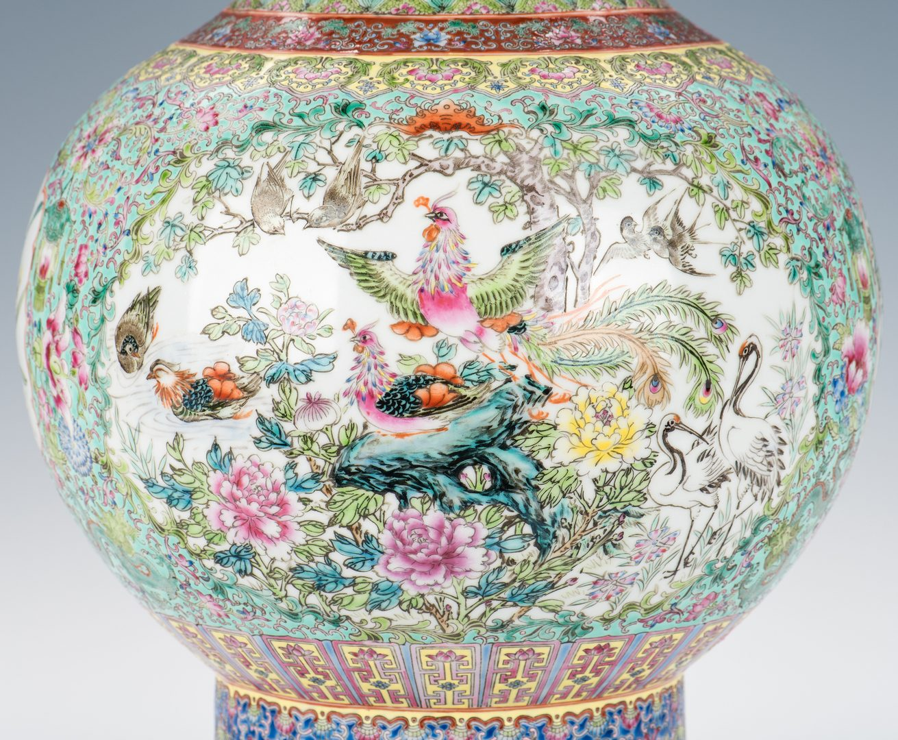 Lot 369: Large Chinese Porcelain Famille Rose Vase w/ Fish Handles