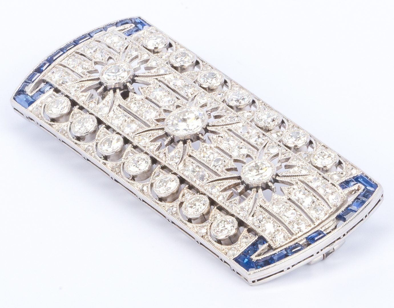 Lot 36: Art Deco Plat Diamond Blue Stone Pin