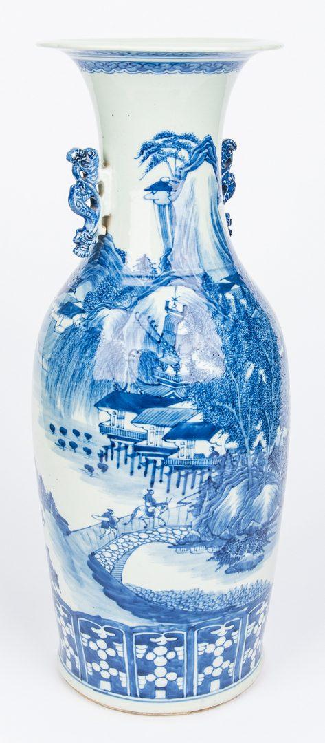 Lot 370: Asian Blue and White Floor Vase, Hawthorne