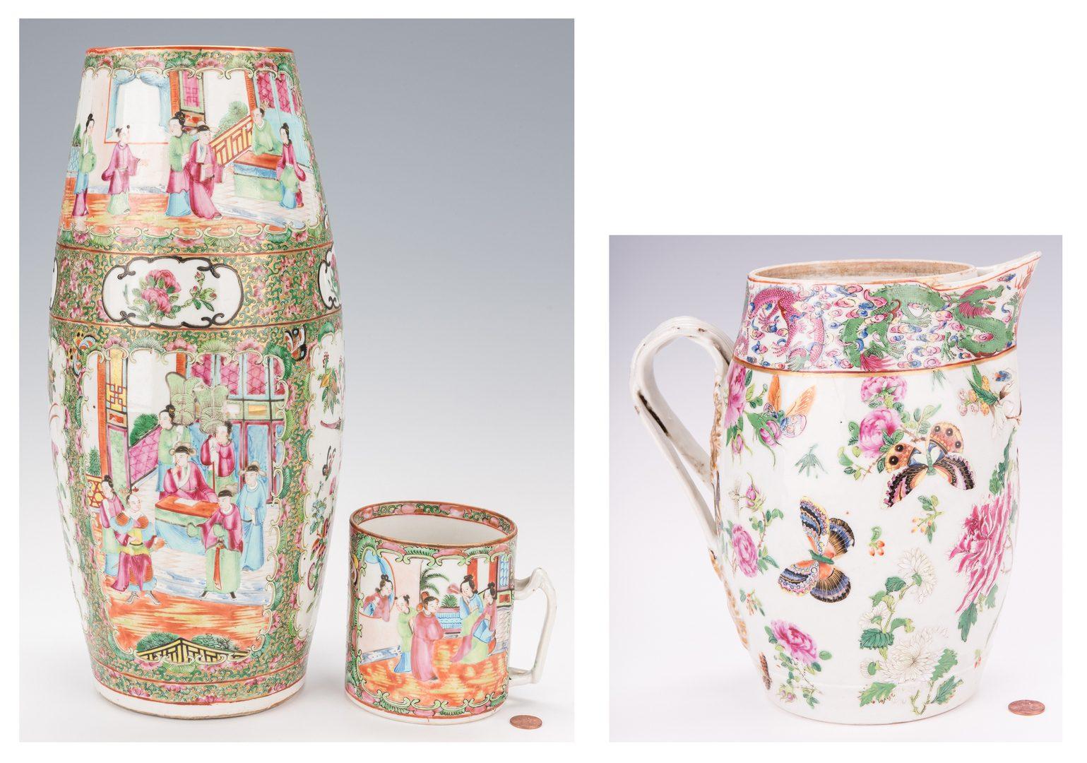 Lot 373: 3 Pcs Chinese Rose Medallion Porcelain: Conical Vase, Mug & Cider Jug