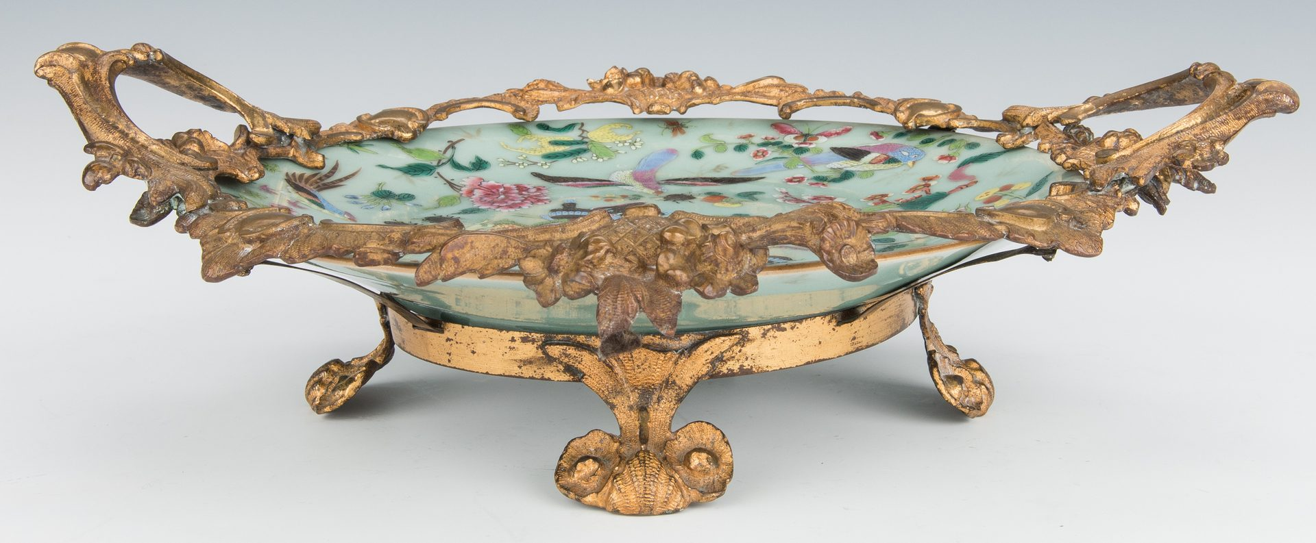 Lot 376: 2 Famille Rose Celadon Dishes, one with gilt bronze mounts