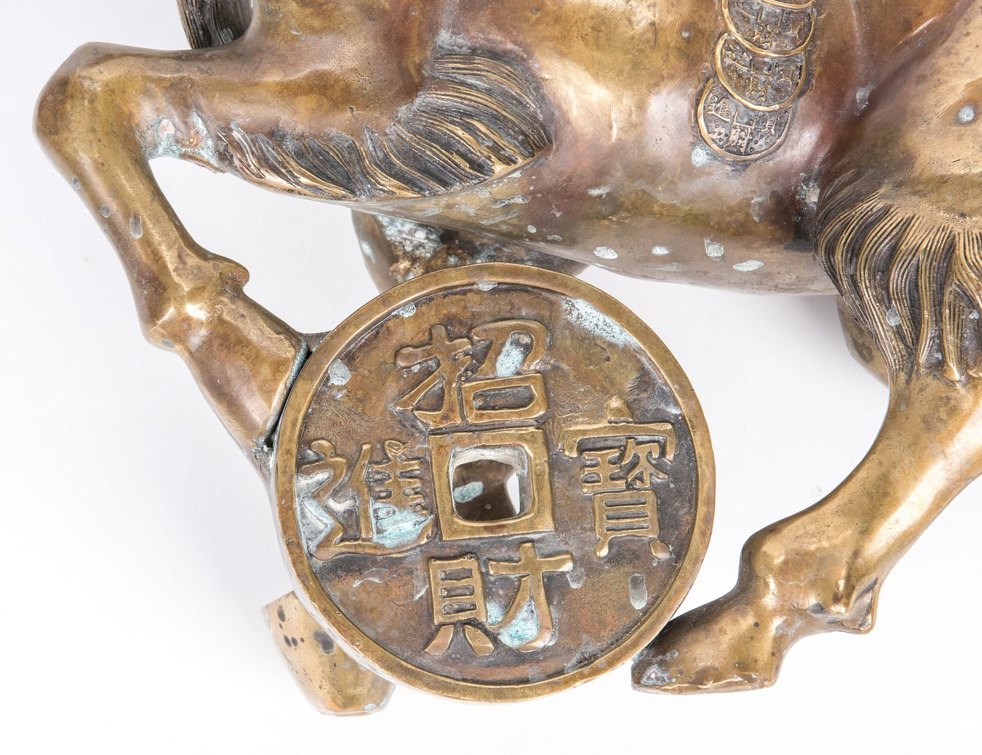 Lot 379: Chinese Bronze Ram figures, pair, Ming style