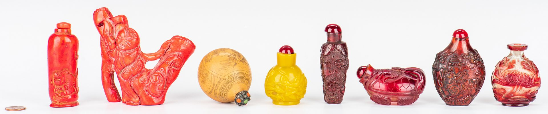 Lot 381: 7 Asian Snuff Bottles & 1 Carved Coral Figure, 8 pcs.