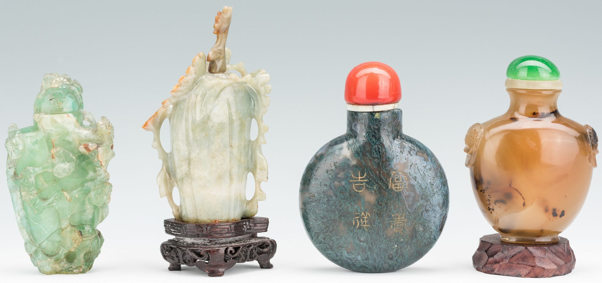 Lot 383: 4 Chinese Snuff Bottles, incl. 1 Jade