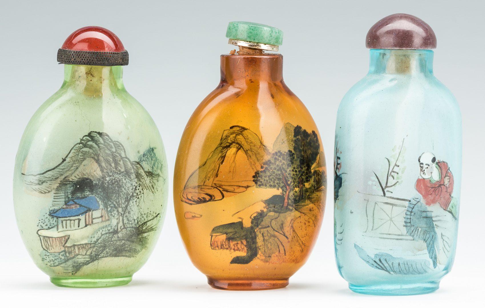 Lot 384: 7 Snuff Bottles, Reverse Painted & Peking Glass