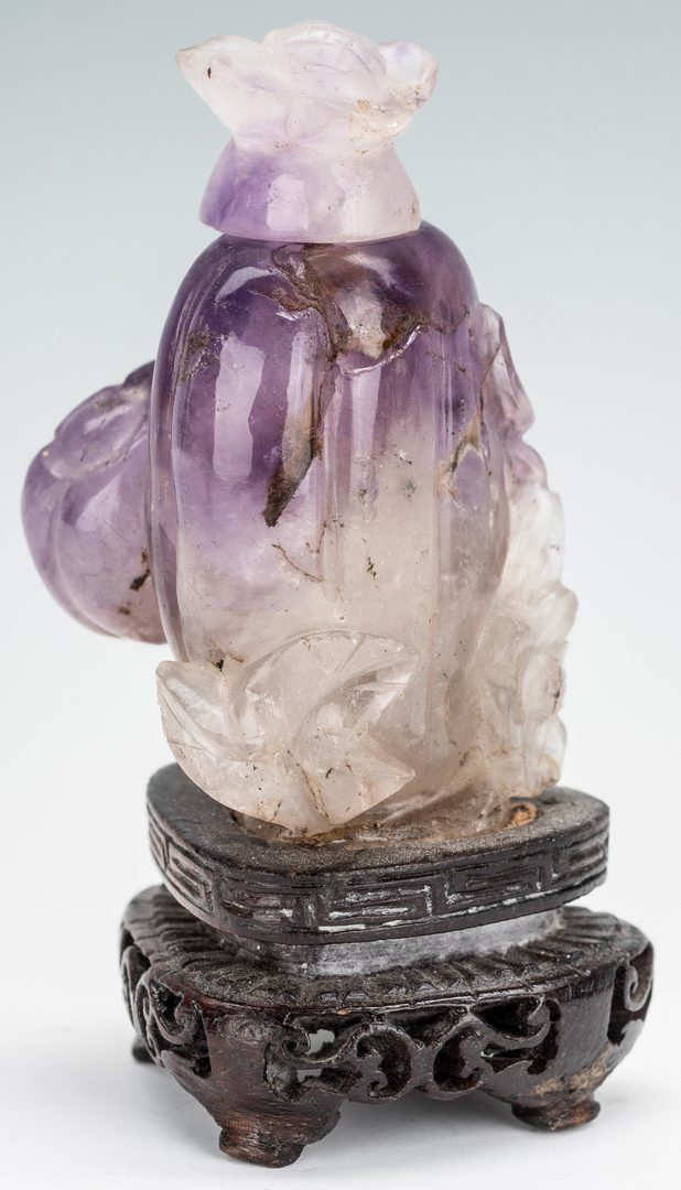 Lot 385: 2 Chinese Carved Amethyst Snuff Bottles
