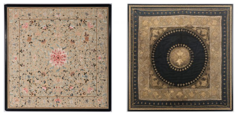 Lot 386: 2 large Asian framed embroideries