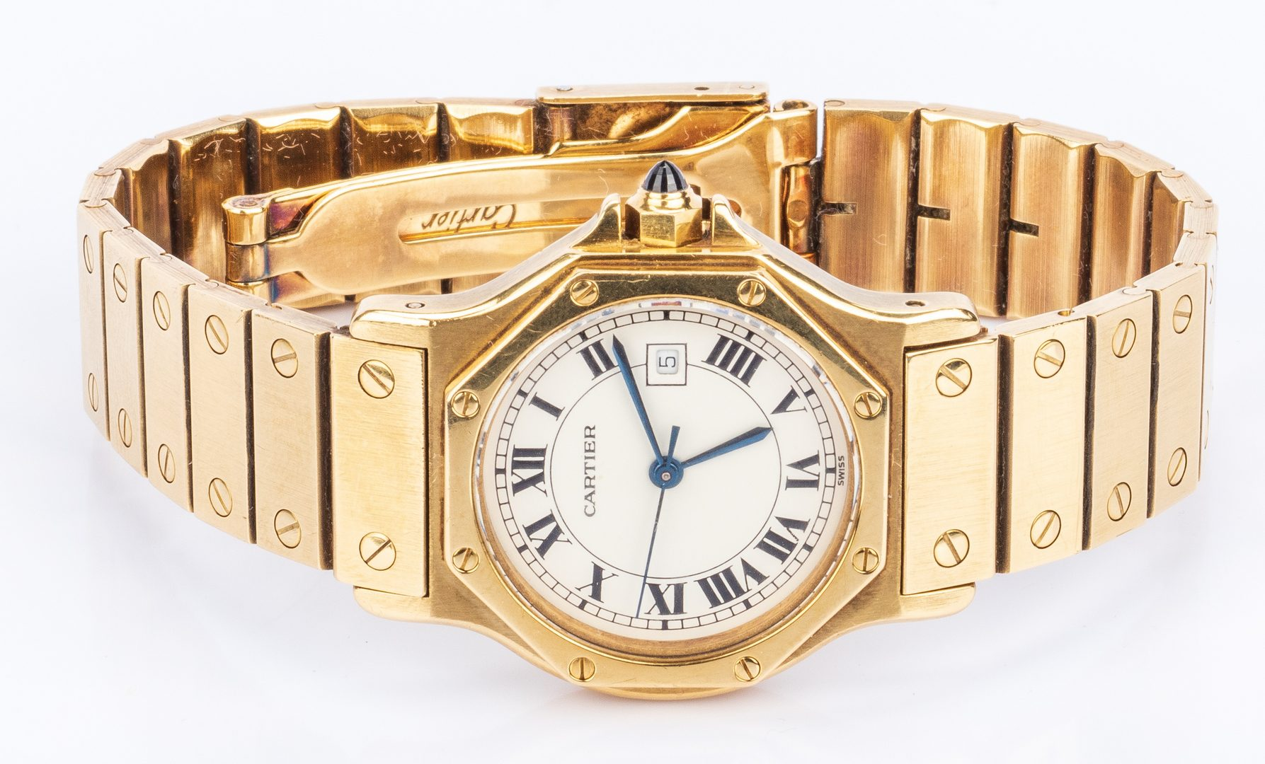 Lot 39: Unisex 18K Cartier Santos Octagon Watch
