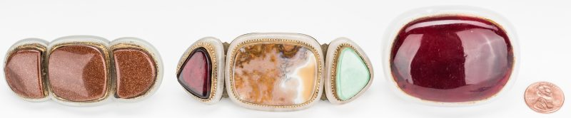 Lot 3: 3 Chinese Jade, Stone & Gilt Bronze Buckles