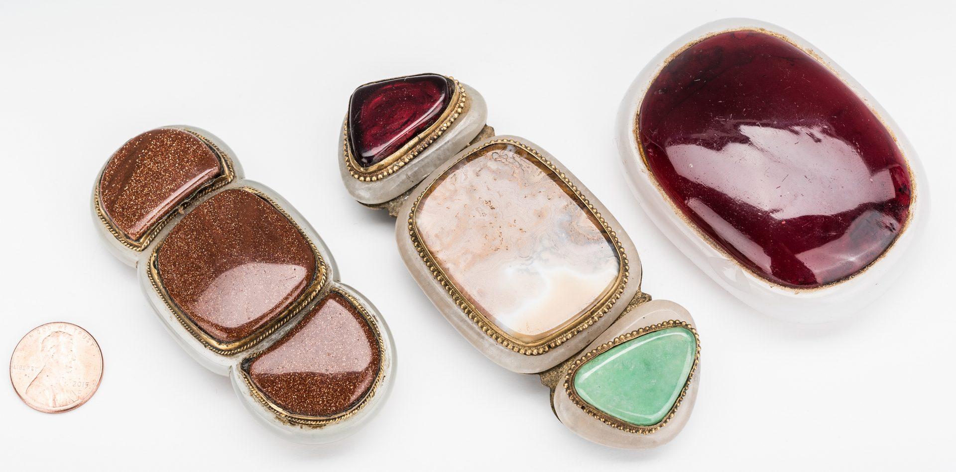 Lot 3: 3 Chinese Jade, Stone & Gilt Bronze Buckles