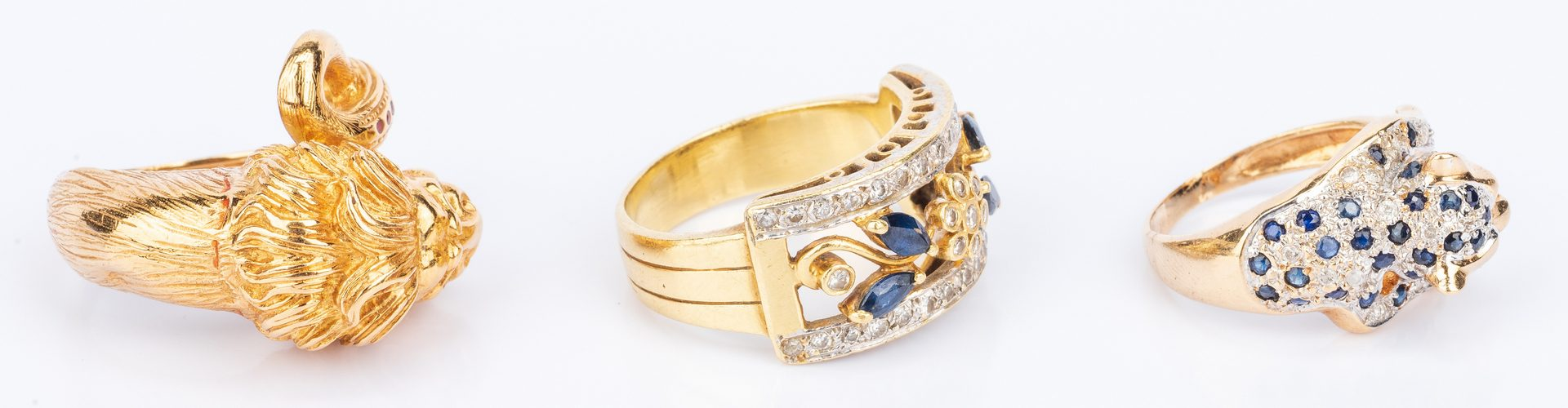 Lot 400: 3 18K; 14K Fashion Rings inc. leopard, lion