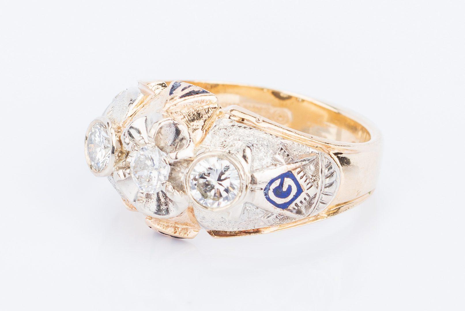 Lot 404: 14K Diamond Blue Lodge Masonic Ring