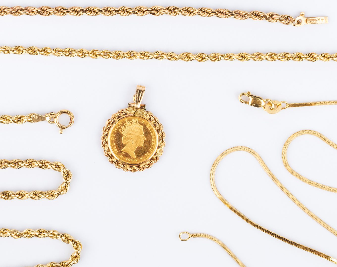 Lot 405: 4 items of 14K Gold Jewelry plus Coin (5 pcs total)