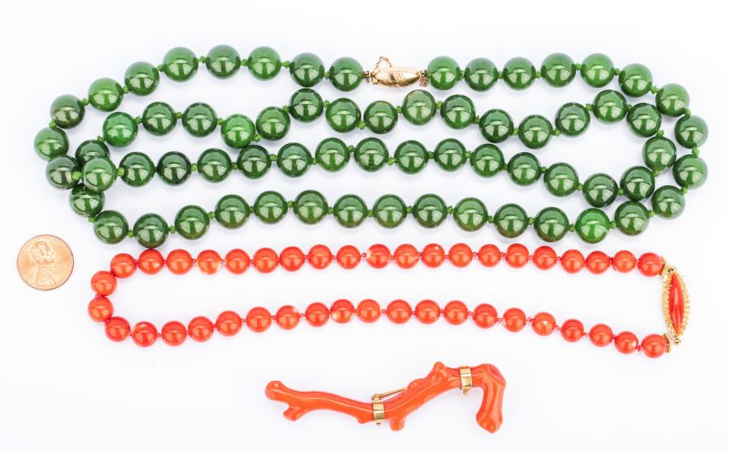 Lot 406: Red Coral Beads; Branch Pin, Jade Beads (3 items)