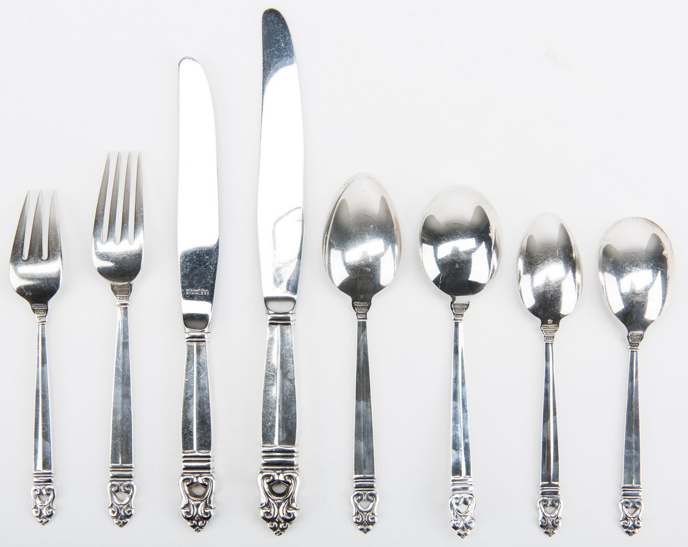 Lot 408: 96 pcs Sterling Flatware, Royal Danish Pattern