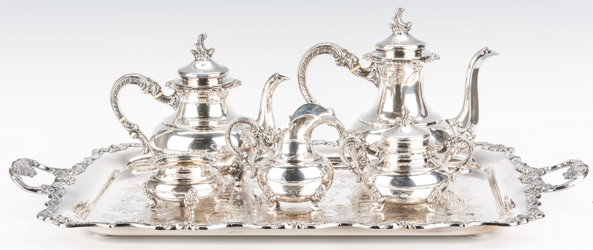 Lot 410: German 5-pc. Sterling Coffee and Tea Set w/SP tray