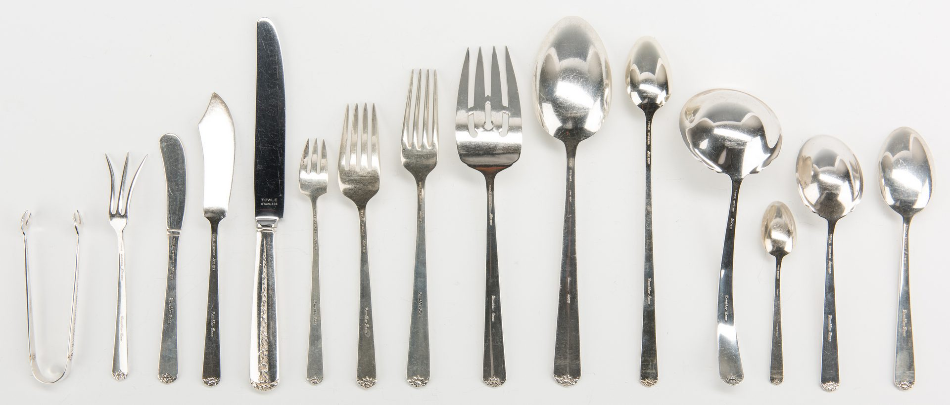 Lot 411: Towle Sterling Flatware, Rambler Rose, 111 total pcs.