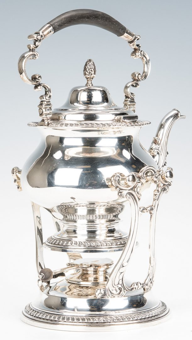 Lot 414: Gebelein Sterling Tea Kettle on Stand