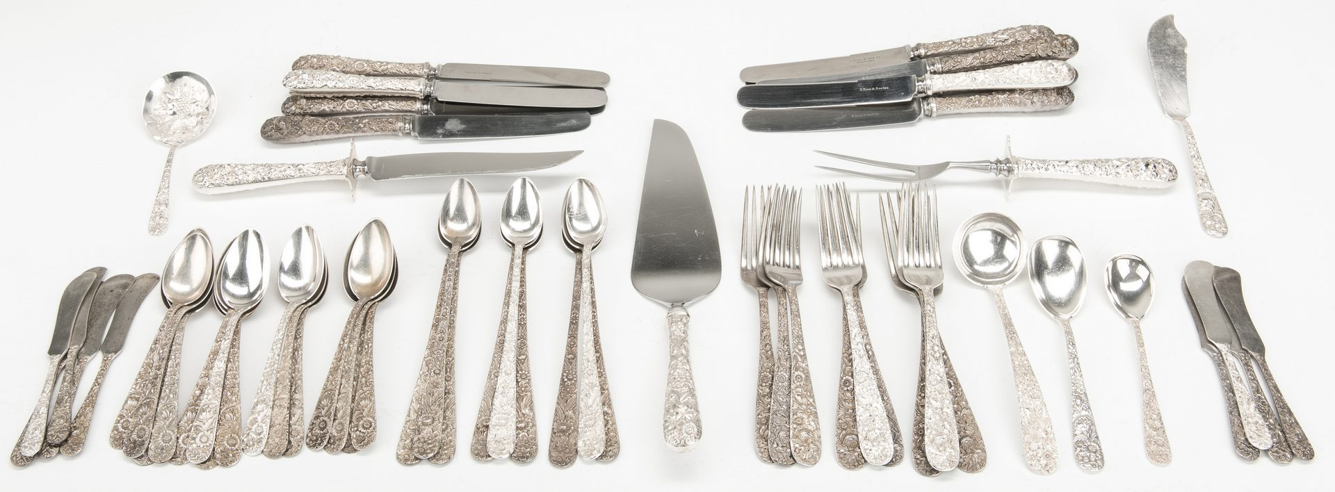 Lot 416: Kirk Repousse Sterling Flatware, 62 pcs