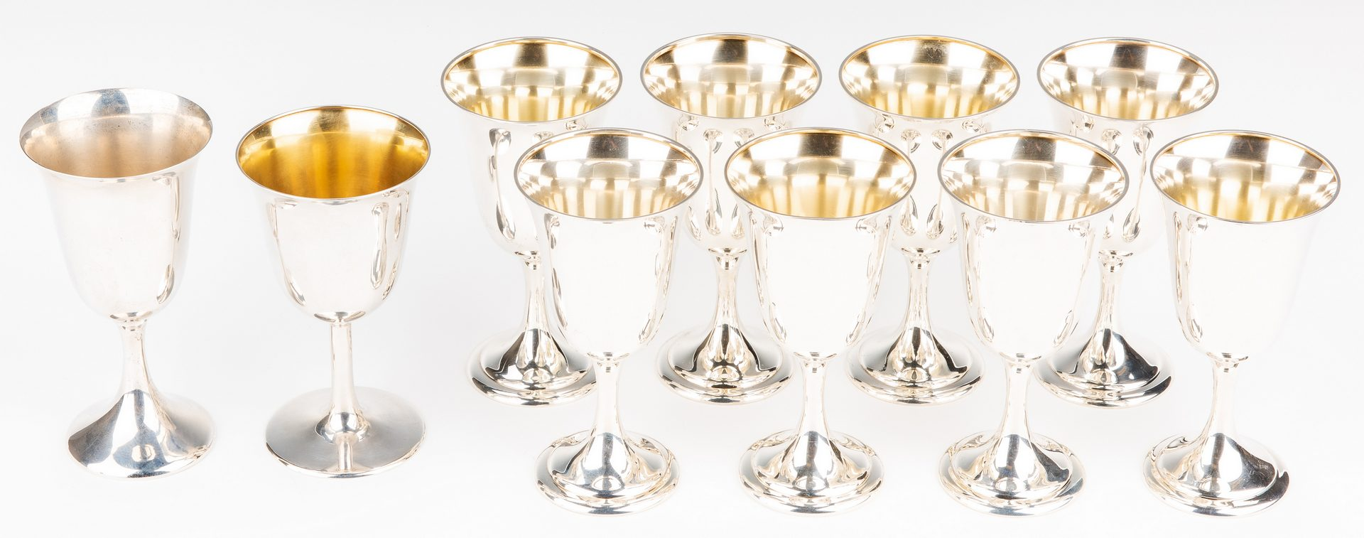 Lot 418: 10 Sterling Goblets (set of 8, plus 2)