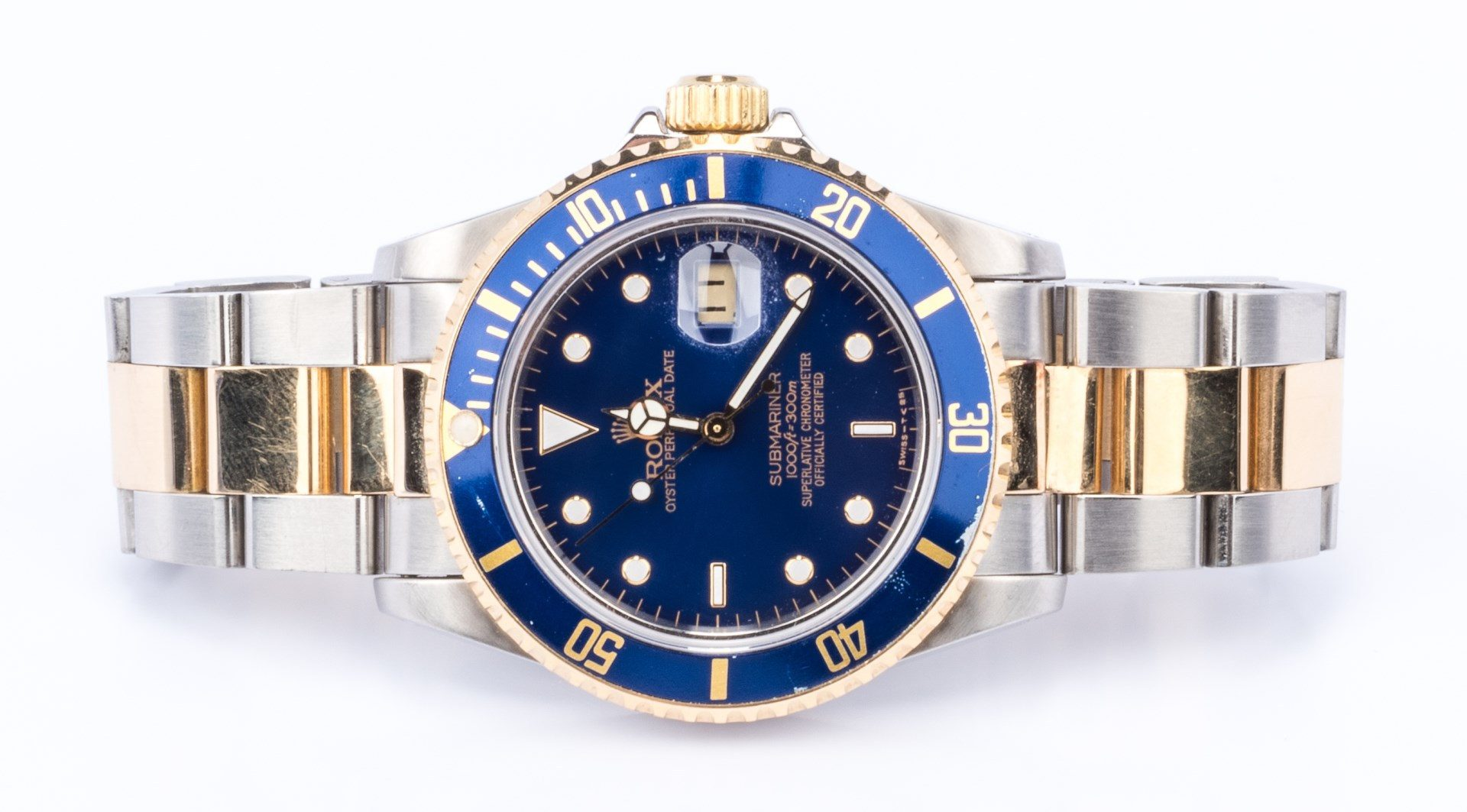 Lot 41: Gents Rolex 18K/Steel Submariner Blue face