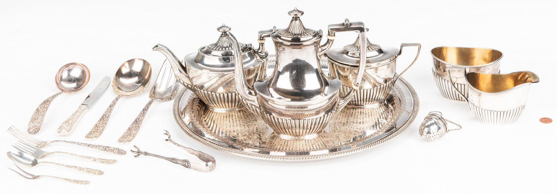 Lot 422: Gorham Sterling Tea Set w/ SP Tray & Kirk Sterling Flatware