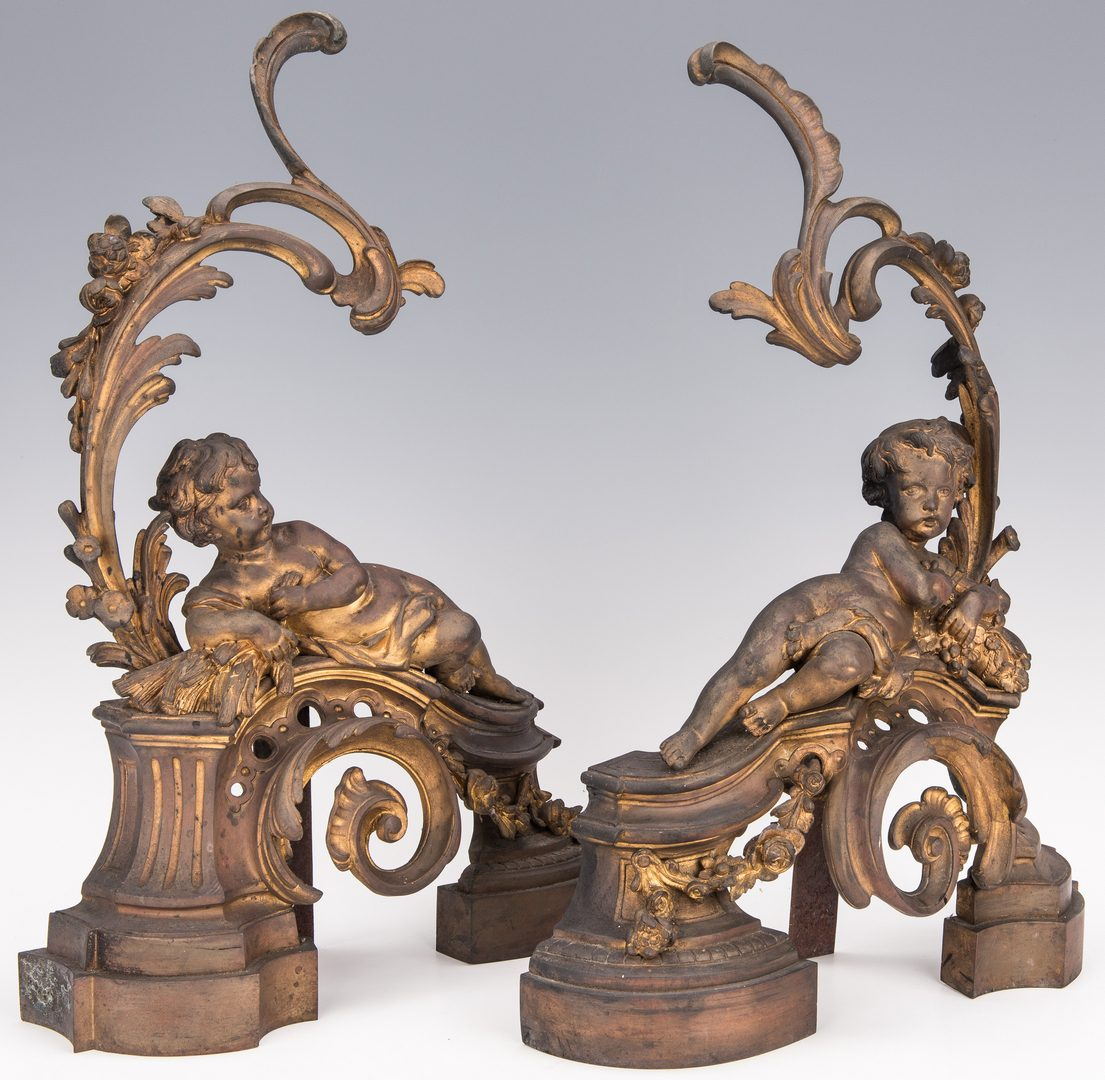 Lot 428: French Cherub Chenets Andirons