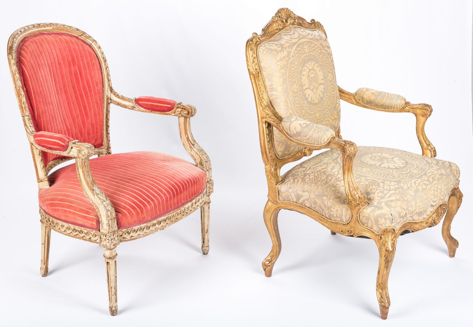 Lot 430: Two French style Carved Armchairs