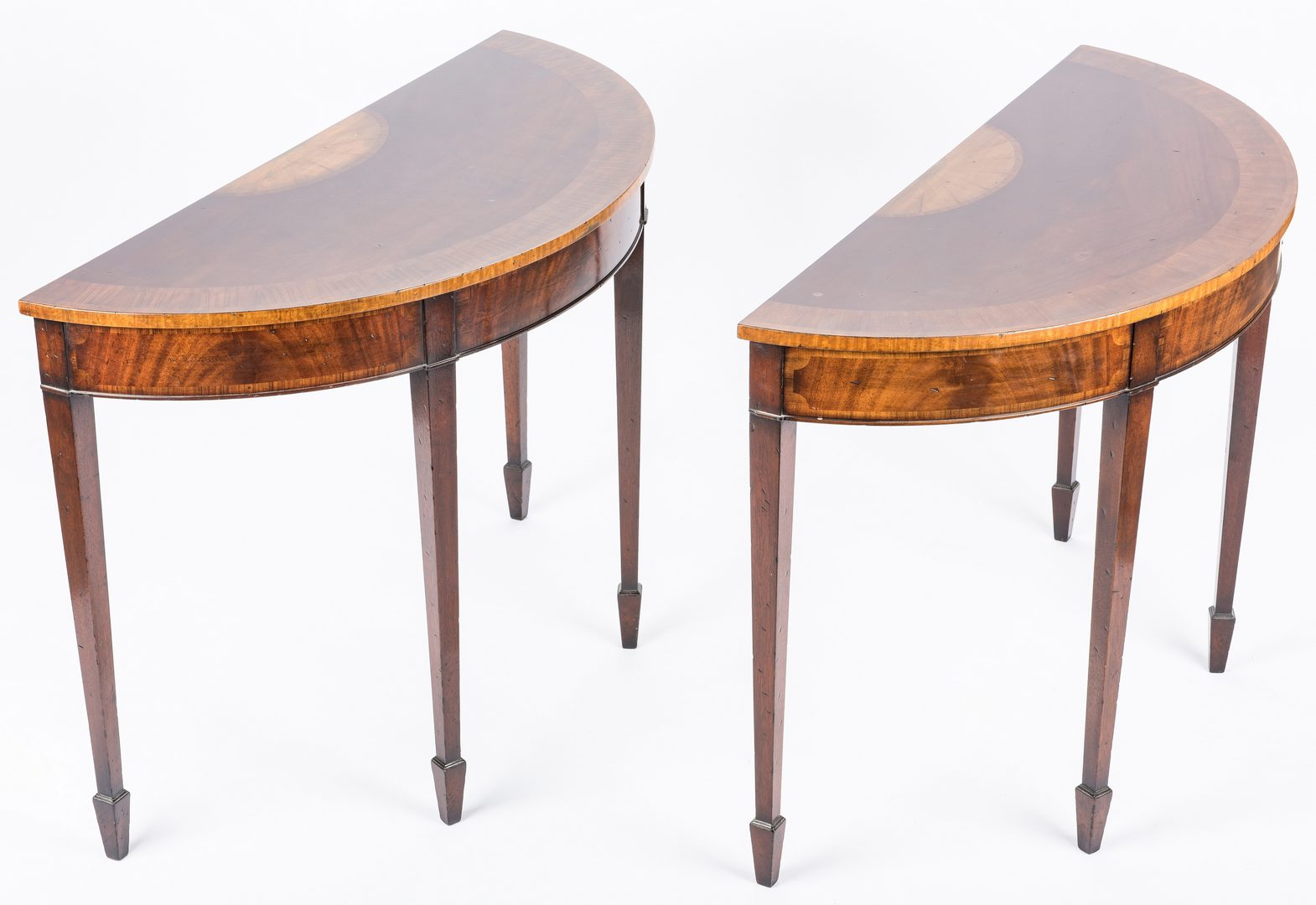 Lot 437: Pair of Georgian style Demilune Tables