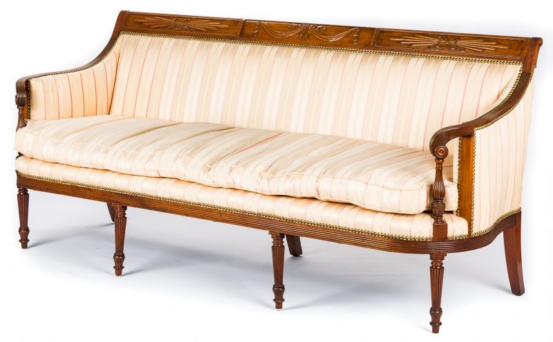 Lot 439: American Federal Carved Mahogany Square-Back Sofa