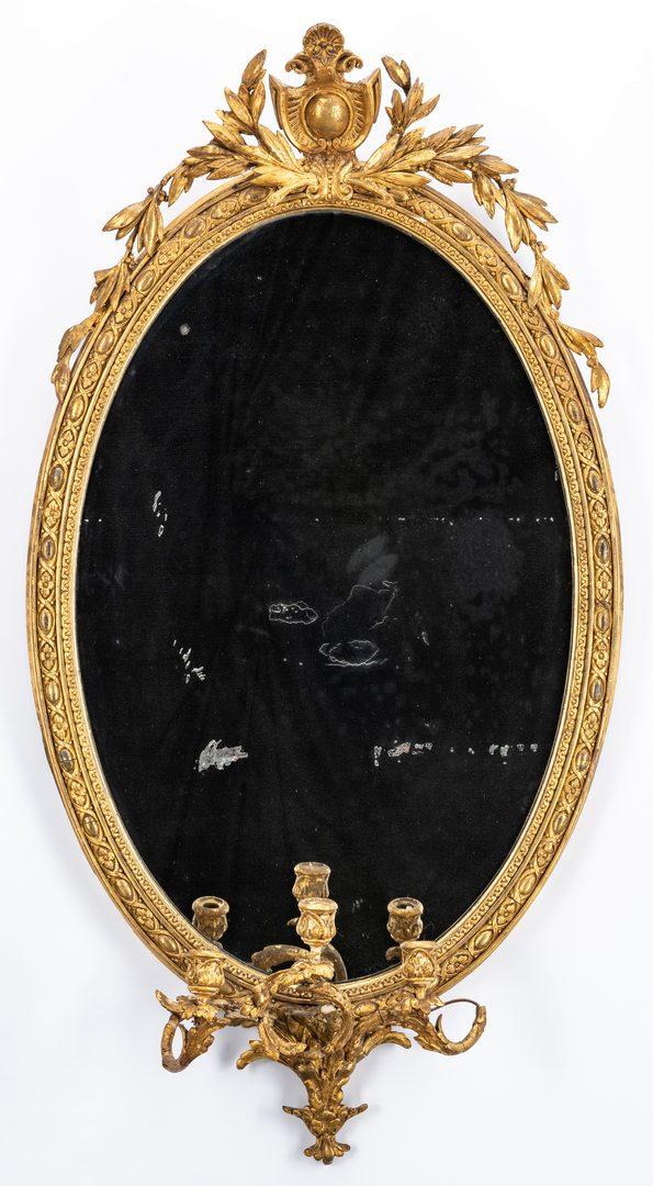 Lot 442: Georgian Giltwood Mirror w/ Sconce